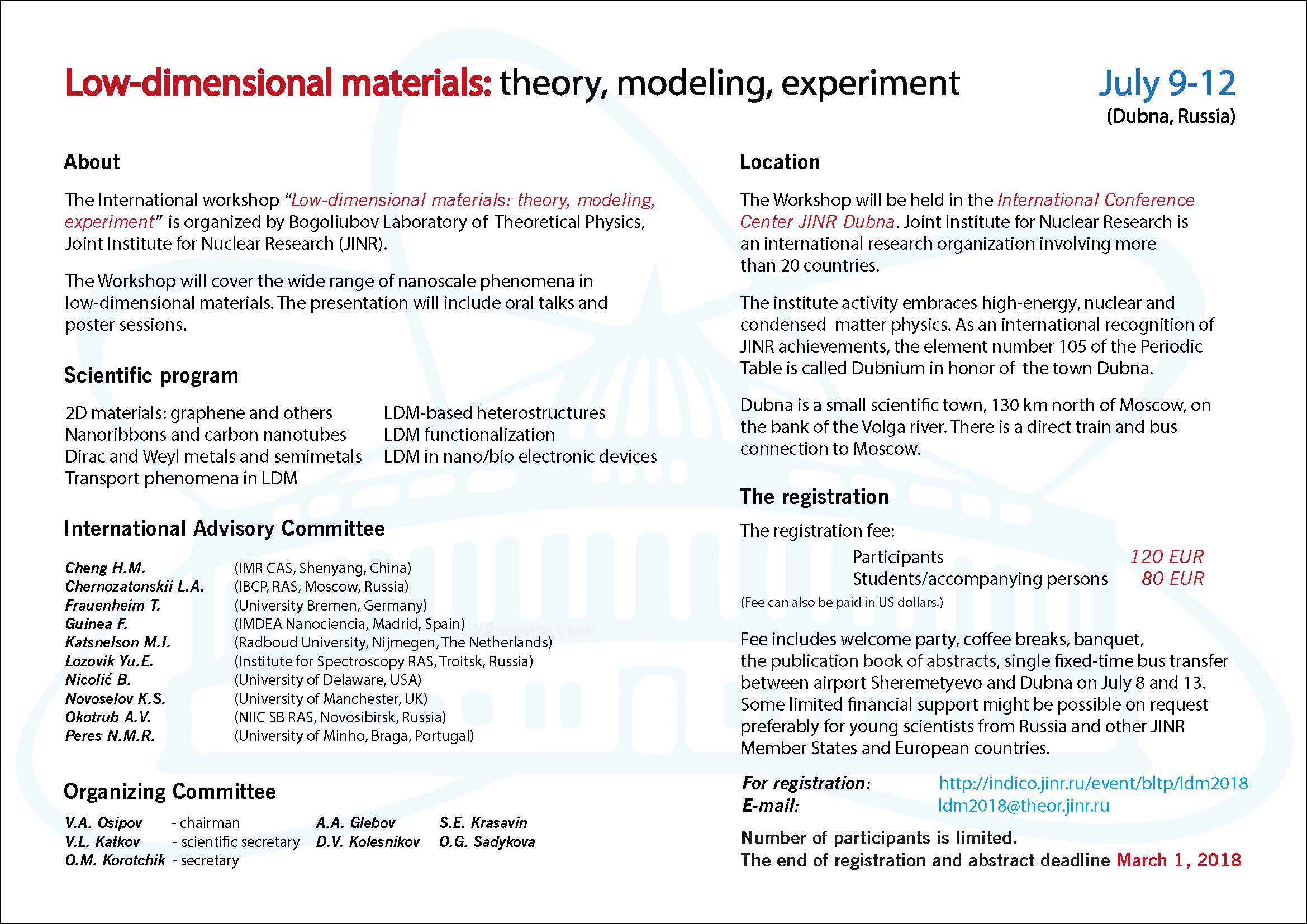 International Workshop «Low Dimensional Materials: Theory